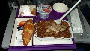 Chinesisches Frühstück im Flugzeug